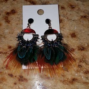 Express Feather & Tortoise Rhinestone Earings